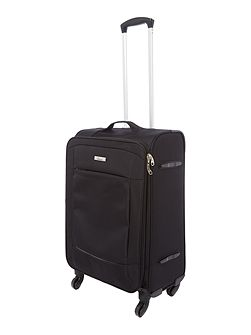 Helston black 4 wheel medium suitcase