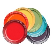 Set 6 rainbow tea plates