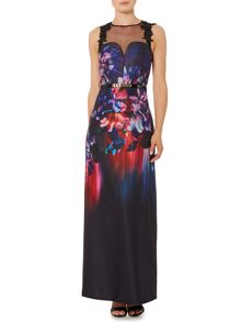 Little Mistress Sleeveless Mesh Top Floral Print Maxi Dress