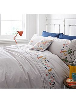Flower embroidery duvet cover