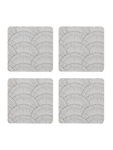 Living by Christiane Lemieux Shibori cork coaster set of 4