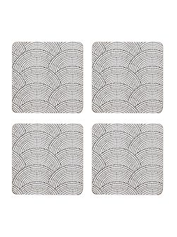 Shibori cork coaster set of 4