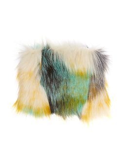Faux fur green multi coin purse