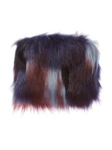 Helen Moore Faux fur blue multi coin purse