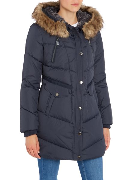 Halifax Traders Quilted coat with asymetric zip and faux fur hood