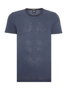 Hugo Boss Tessler Slim Fit Striped Logo T Shirt