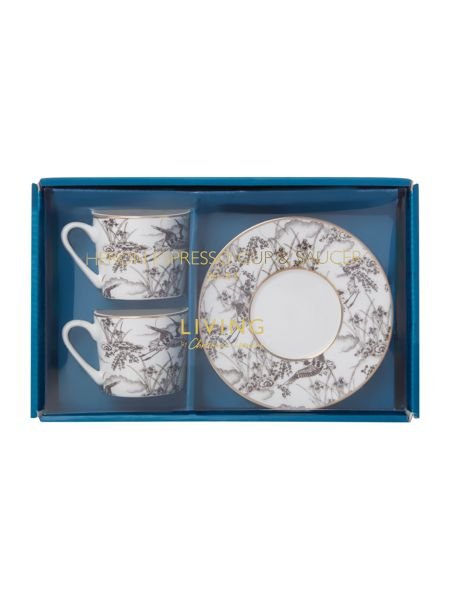 Living by Christiane Lemieux Heron Set Of 2 Espresso Cup & Saucer