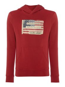 USA Flag Graphic Pull Over Hoodie