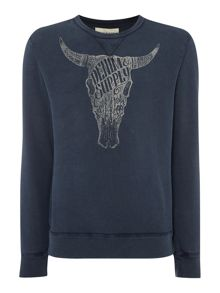 Denim and Supply Ralph Lauren Cow Skull Graphic Crew Neck Sweatshirt