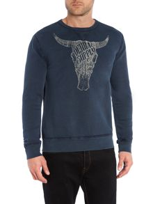 Cow Skull Graphic Crew Neck Sweatshirt