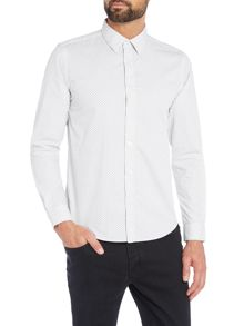 Long Sleeve Black on White Geo Shirt