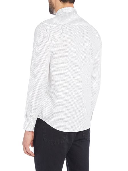 Wincer And Plant Long Sleeve Black on White Geo Shirt