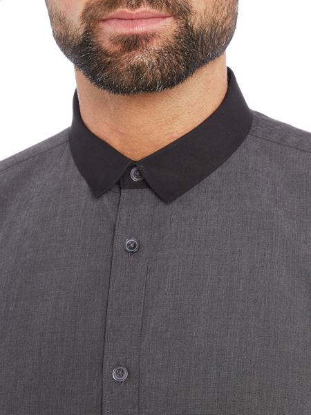 Wincer And Plant Long Sleeve Contrast Micro Collar Shirt