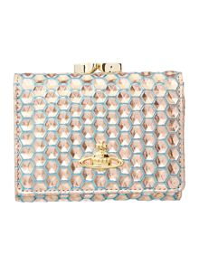 Honeycomb metallic small flap over purse