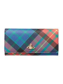 Derby multi tartan flap over purse