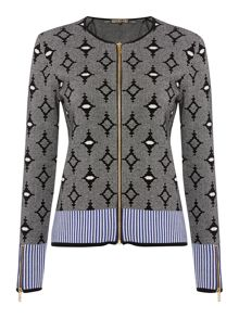Zip up jacquard cardigan