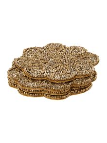 Biba Gold Beaded Flower Coaster Set Of 4