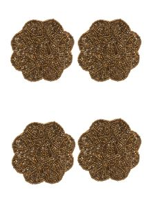 Gold Beaded Flower Coaster Set Of 4