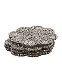 Biba Silver Beaded Flower Coaster Set Of 4