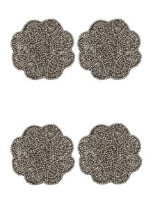 Silver Beaded Flower Coaster Set Of 4