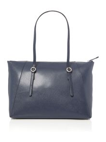Coccinelle Mel navy zip top tote bag