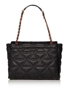 Sharlenemania black large flap over shoulder bag