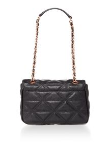 Sharlenemania black small flap over shoulder bag