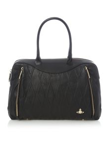 Diamond orb black grab tote bag