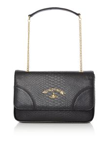 Frilly snake black flap over shoulder bag