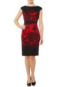 Linea Floral silhouette cap sleeve ponte shift dress