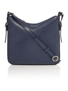 Mel navy zip top cross body bag
