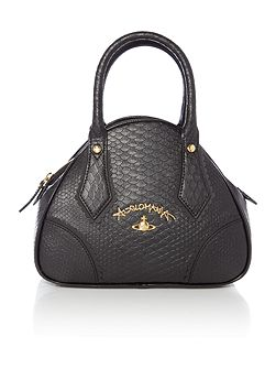 Frilly snake black small dome bag