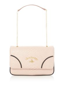 Vivienne Westwood Frilly snake pink flap over shoulder bag