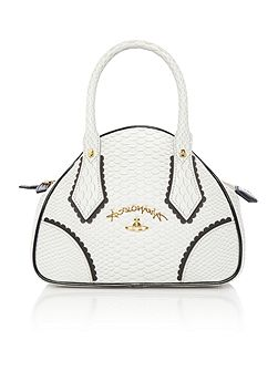 Frilly snake grey small dome bag