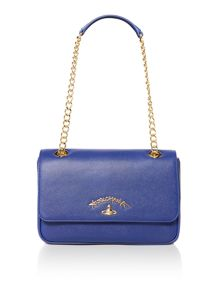 Vivienne Westwood Divina blue flap over shoulder bag