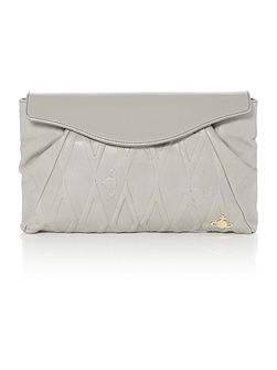 Diamond orb grey flap over shoulder bag