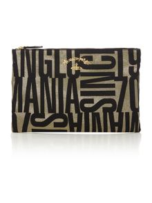 Anglo jacquard black large clutch bag