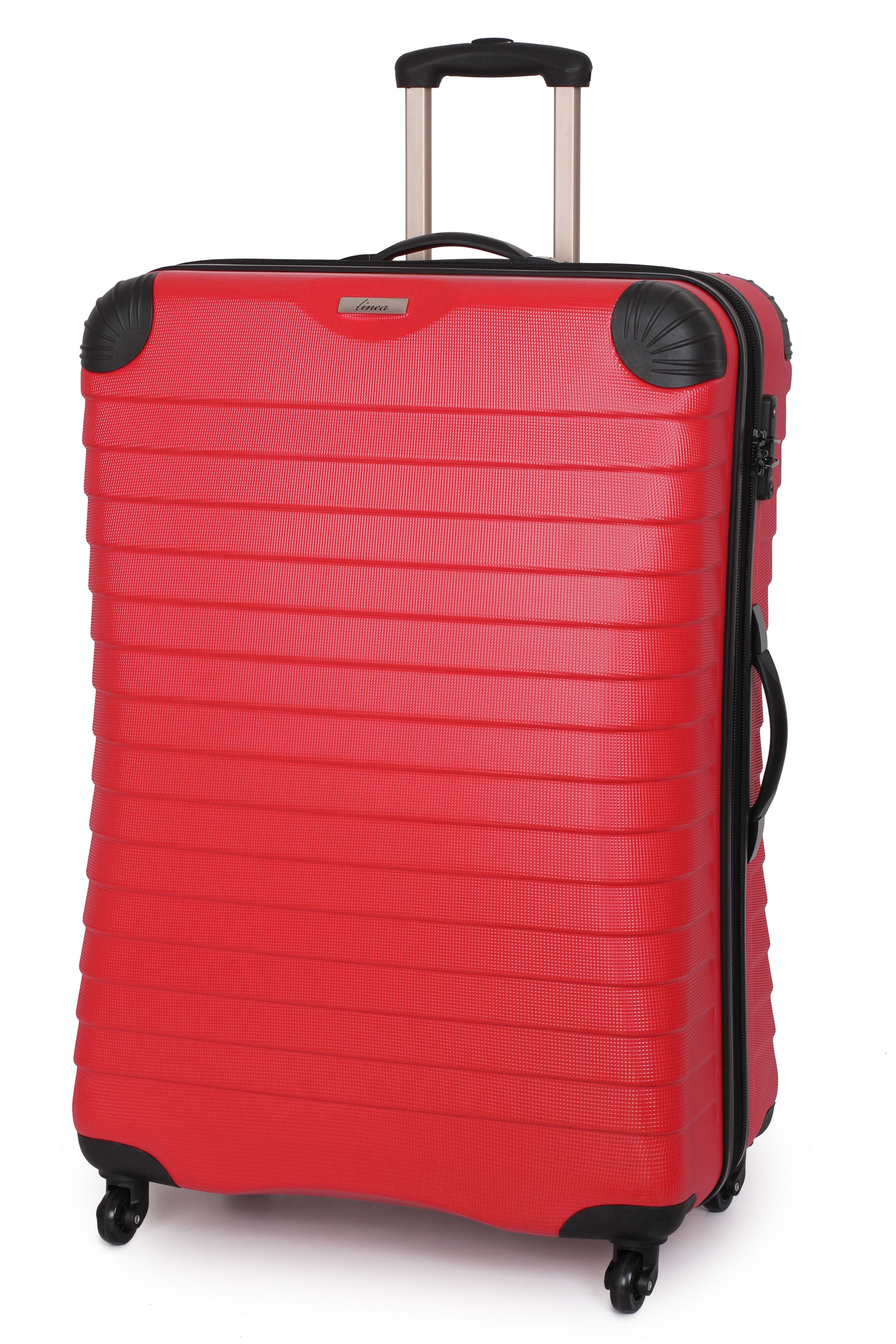 Linea Shell red 4 wheel hard large suitcase Red