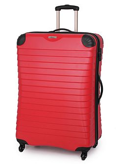 Shell red 4 wheel hard large suitcase