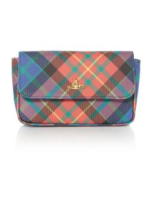 Derby multi tartan wrist clutch bag