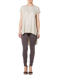 Split front woven long line top