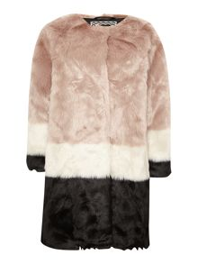 Maison Scotch Colour block faux fur coat