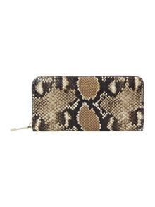 Coccinelle Multi-coloured python large zip around purse