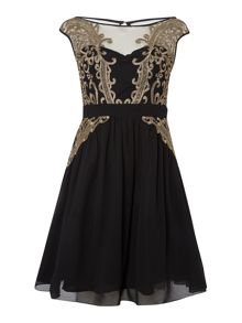 Little Mistress Sleeveless Mesh and Embroidered Midi Dress