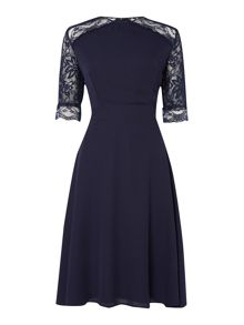 Elise Ryan Midi Crepe Skater Dress with Lace Sleeve