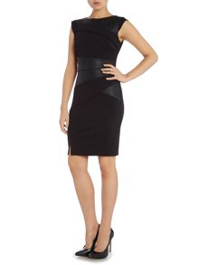 Michelle Keegan Cap Sleeve PU Bodycon Dress