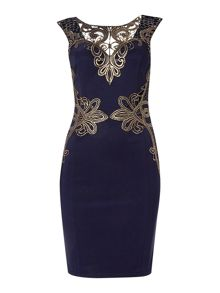 Michelle Keegan Cap Sleeve Lace  Bodycon Dress