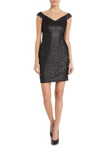 Lipsy Off Shoulder Glitter Bodycon Dress