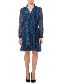 Biba Pussybow printed shirt dress