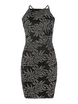 Square Neck Patterned Sequin Bodycon Dress